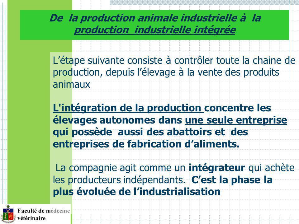 Létape suivante consiste à contrôler toute la chaine de production, depuis lélevage à la vente des produits animaux L intégration de la production concentre les élevages autonomes dans une seule entreprise qui possède aussi des abattoirs et des entreprises de fabrication daliments.