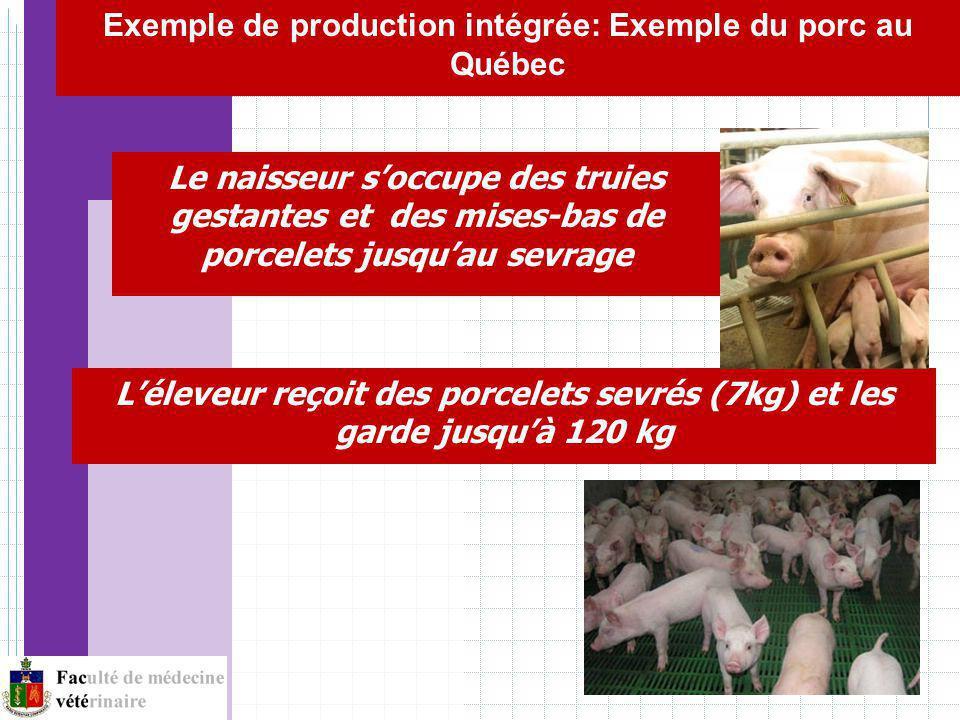 Léleveur reçoit des porcelets sevrés (7kg) et les garde jusquà 120 kg Le naisseur soccupe des truies gestantes et des mises-bas de porcelets jusquau sevrage Exemple de production intégrée: Exemple du porc au Québec