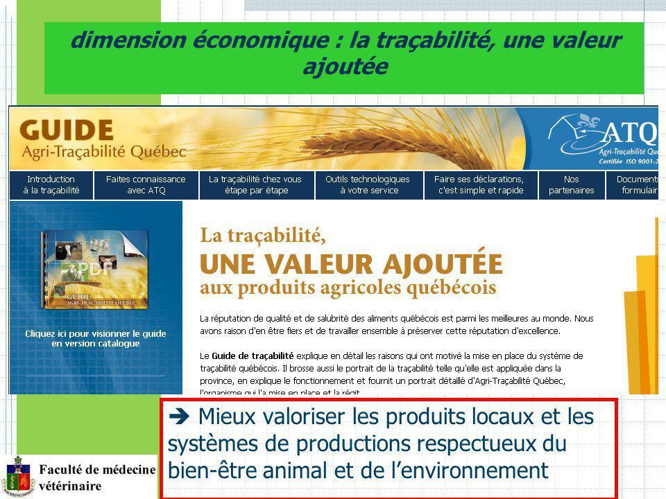 Mieux valoriser les produits locaux et les systèmes de productions respectueux du bien-être animal et de lenvironnement dimension économique : la traçabilité, une valeur ajoutée