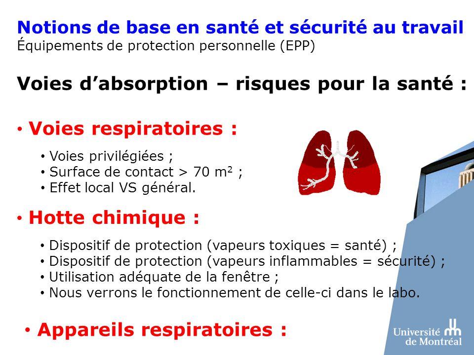 Notions de base en santé et sécurité au travail Équipements de protection personnelle (EPP) Voies dabsorption – risques pour la santé : Voies respirat