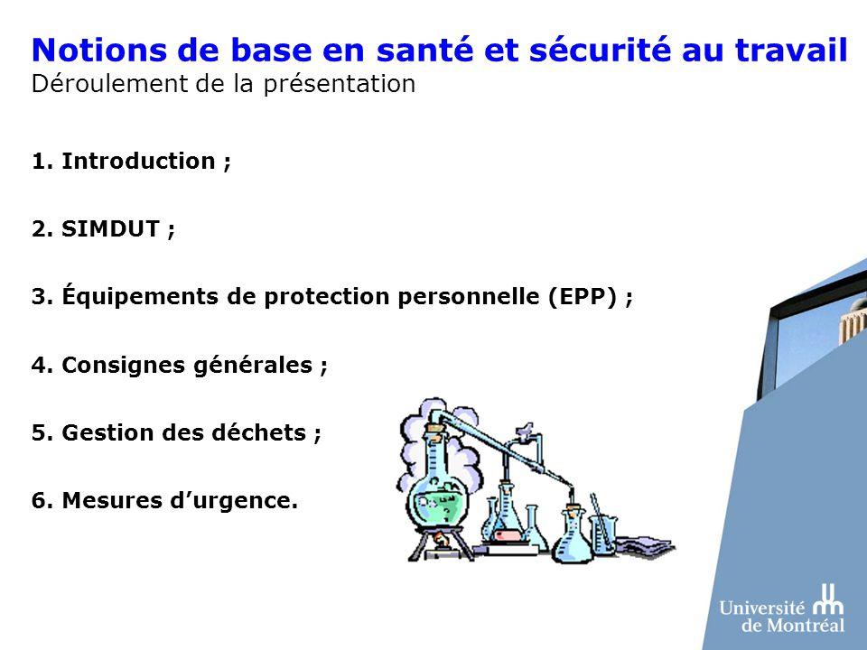 Notions de base en santé et sécurité au travail Déroulement de la présentation 1. Introduction ; 2. SIMDUT ; 3. Équipements de protection personnelle