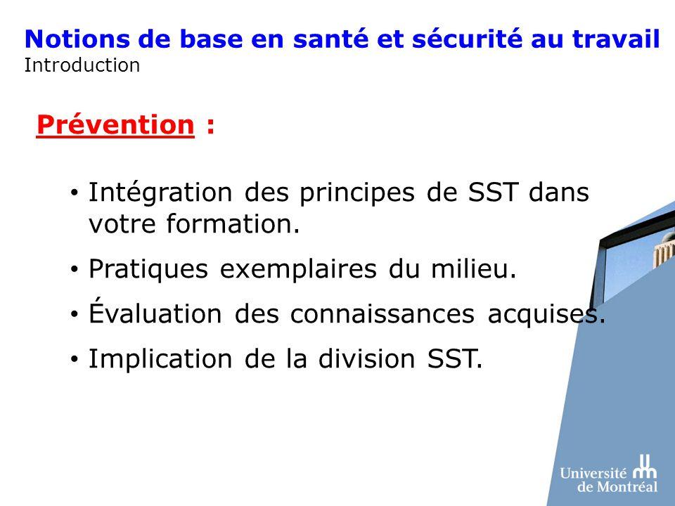 Notions de base en santé et sécurité au travail Introduction Prévention : Intégration des principes de SST dans votre formation. Pratiques exemplaires