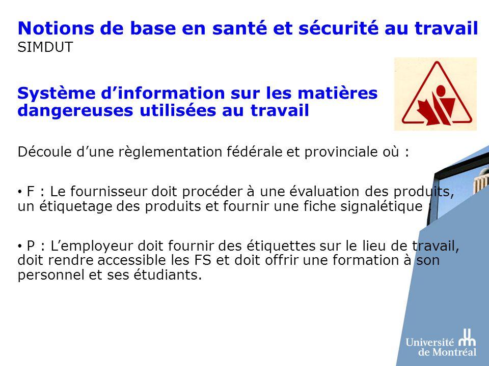 Notions de base en santé et sécurité au travail SIMDUT Système dinformation sur les matières dangereuses utilisées au travail Découle dune règlementat