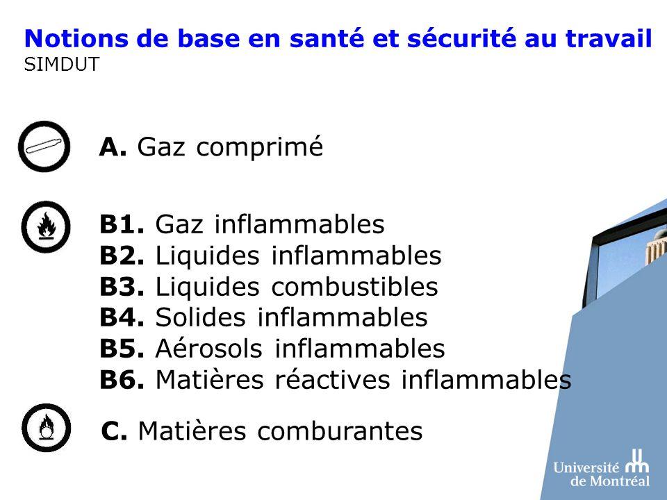 Notions de base en santé et sécurité au travail SIMDUT A. Gaz comprimé B1. Gaz inflammables B2. Liquides inflammables B3. Liquides combustibles B4. So