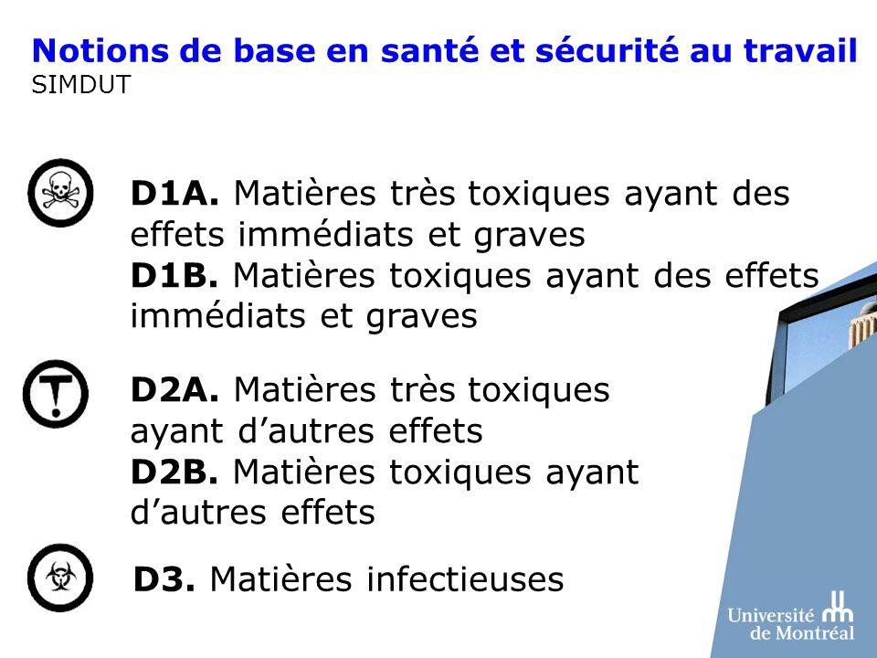 Notions de base en santé et sécurité au travail SIMDUT D1A. Matières très toxiques ayant des effets immédiats et graves D1B. Matières toxiques ayant d