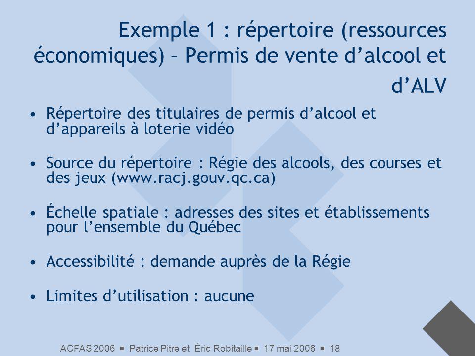 ACFAS 2006 Patrice Pitre et Éric Robitaille 17 mai 2006 18 Exemple 1 : répertoire (ressources économiques) – Permis de vente dalcool et dALV Répertoir