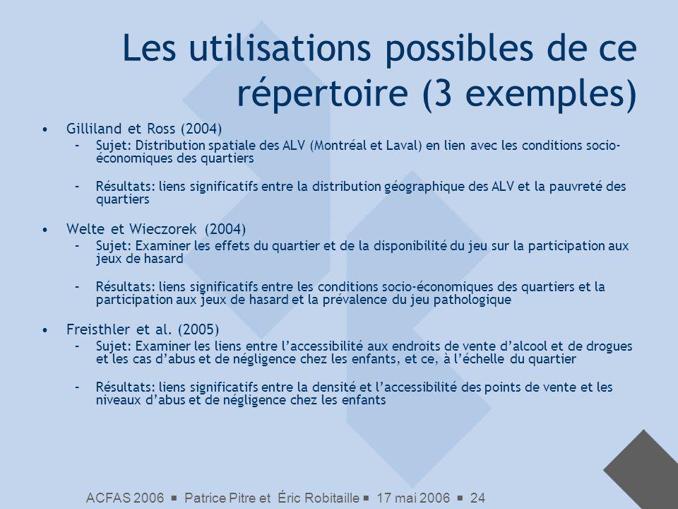 ACFAS 2006 Patrice Pitre et Éric Robitaille 17 mai 2006 24 Les utilisations possibles de ce répertoire (3 exemples) Gilliland et Ross (2004) –Sujet: D
