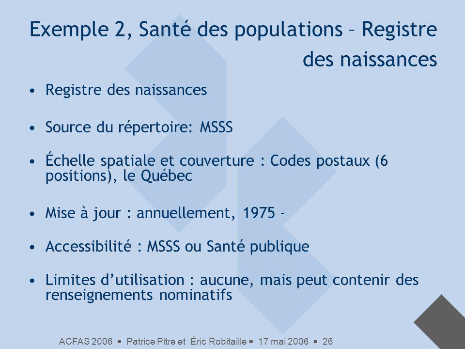 ACFAS 2006 Patrice Pitre et Éric Robitaille 17 mai 2006 26 Exemple 2, Santé des populations – Registre des naissances Registre des naissances Source d