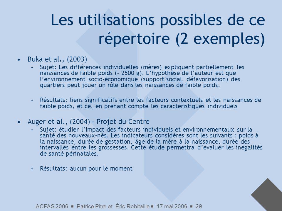 ACFAS 2006 Patrice Pitre et Éric Robitaille 17 mai 2006 29 Les utilisations possibles de ce répertoire (2 exemples) Buka et al., (2003) –Sujet: Les di