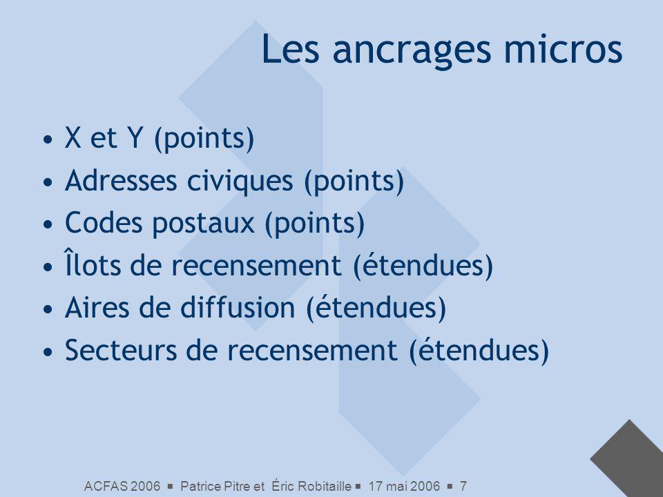 ACFAS 2006 Patrice Pitre et Éric Robitaille 17 mai 2006 7 Les ancrages micros X et Y (points) Adresses civiques (points) Codes postaux (points) Îlots