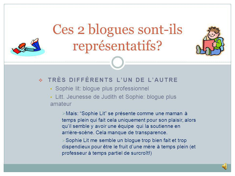 Critères dévaluation Blogues - littérature jeunesse JUDITH ET SOPHIE +/- JUDITH ET SOPHIE