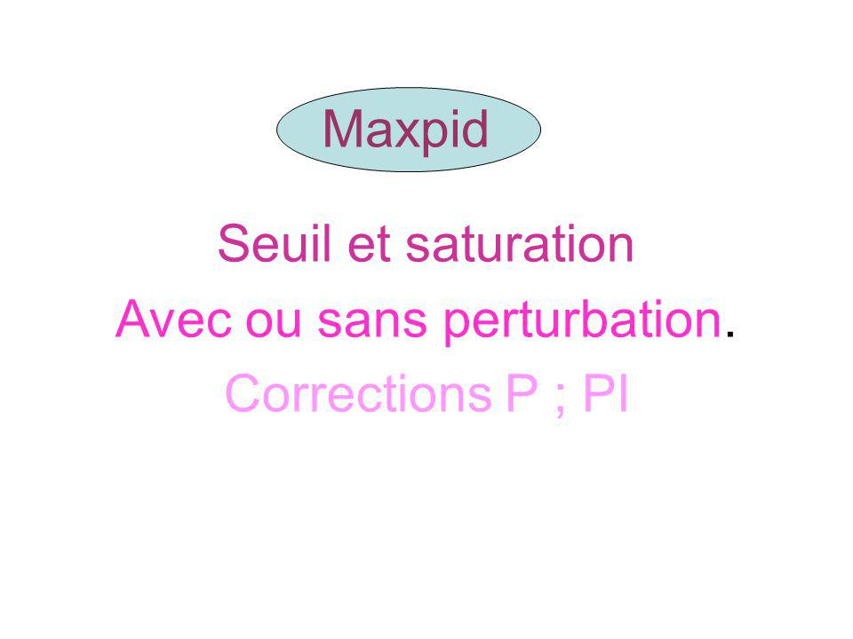 Maxpid Seuil et saturation Avec ou sans perturbation. Corrections P ; PI