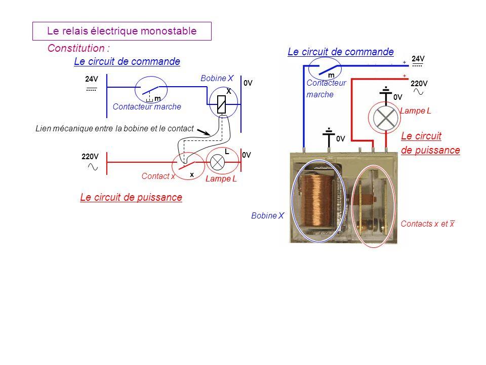 m L Le relais électrique monostable X m x Le circuit de commande Le circuit de puissance Le circuit de puissance Contacteur marche Contacteur marche Bobine X Contact x Contacts x et x Lampe L 24V 0V 220V 0V 24V 220V 0V Lampe L Lien mécanique entre la bobine et le contact Constitution :
