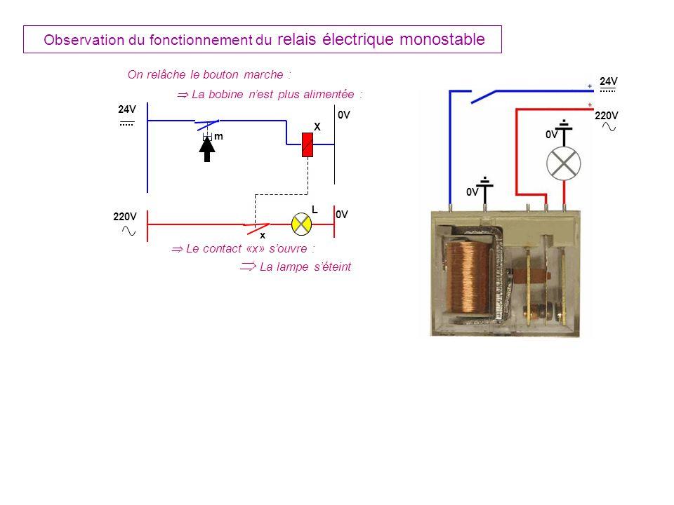 m X L On relâche le bouton marche : La bobine nest plus alimentée : Le contact «x» souvre : La lampe séteint x 24V 0V 220V 0V 24V 220V 0V Observation du fonctionnement du relais électrique monostable