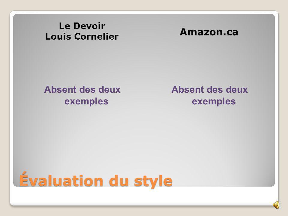 Aspect physique Le Devoir Louis Cornelier Amazon.ca Absent dans les deux exemples Exemple 1 et 2: Photographie du livre, Taille du livre Poids Possibilité de feuilleter quelques pages