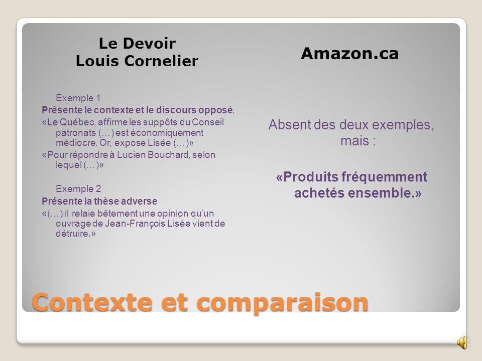 Largumentation et les faits Le Devoir Louis Cornelier Amazon.ca Exemple 1 6 paragraphes de faits et statistiques Mais… nen vérifient pas, nen contredit aucun.