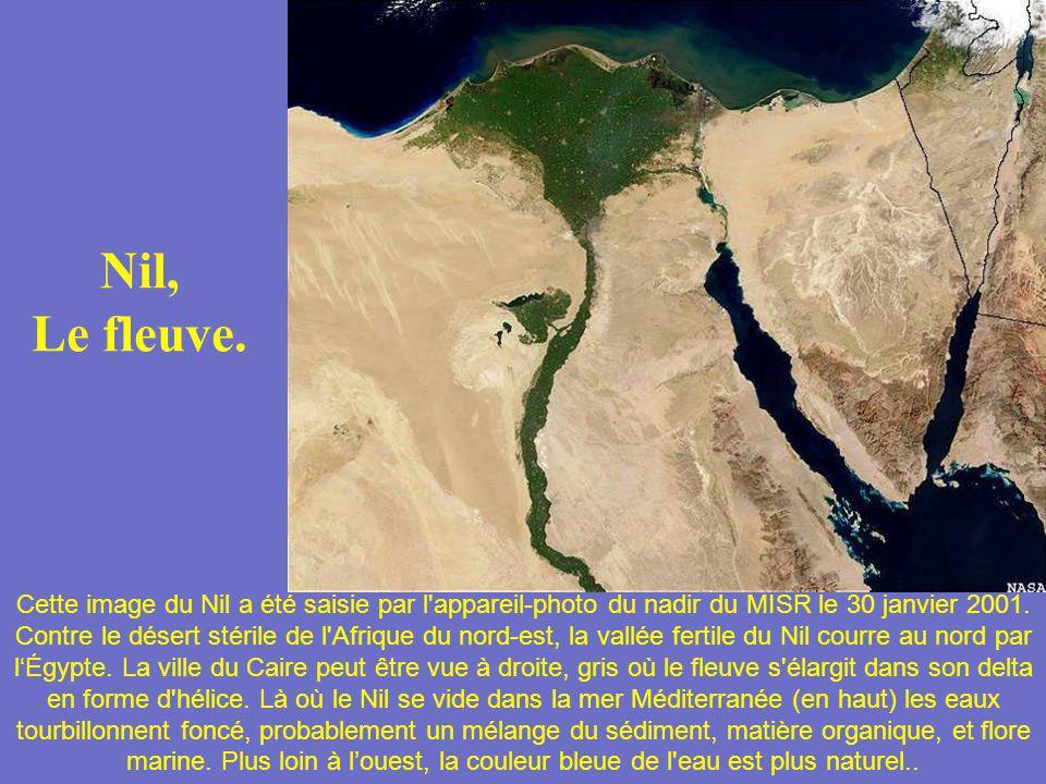 Nil, Le fleuve. Cette image du Nil a été saisie par l'appareil-photo du nadir du MISR le 30 janvier 2001. Contre le désert stérile de l'Afrique du nor