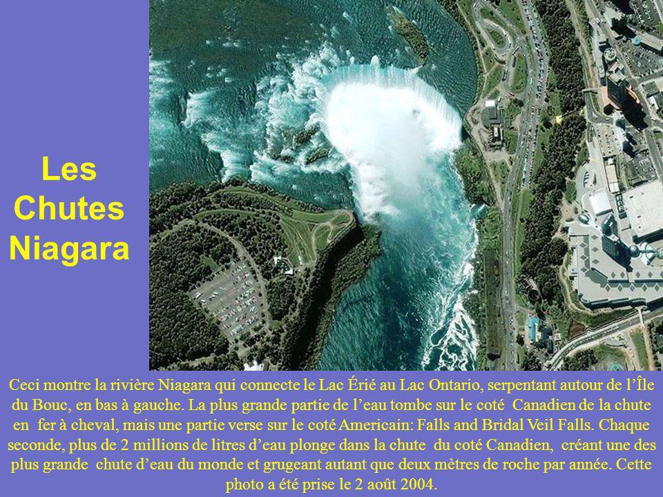 Les Chutes Niagara Ceci montre la rivière Niagara qui connecte le Lac Érié au Lac Ontario, serpentant autour de lÎle du Bouc, en bas à gauche. La plus