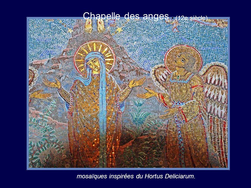Chapelle des anges (12e siècle) mosaïques inspirées du Hortus Deliciarum.
