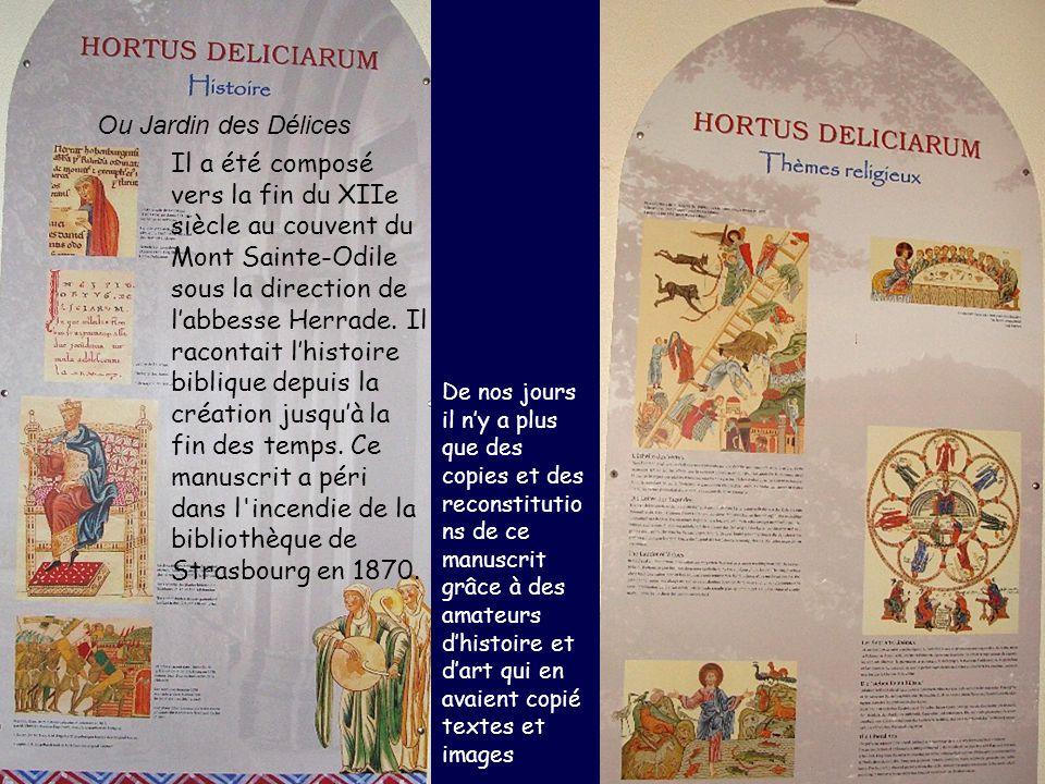 Ou Jardin des Délices Il a été composé vers la fin du XIIe siècle au couvent du Mont Sainte-Odile sous la direction de labbesse Herrade. Il racontait