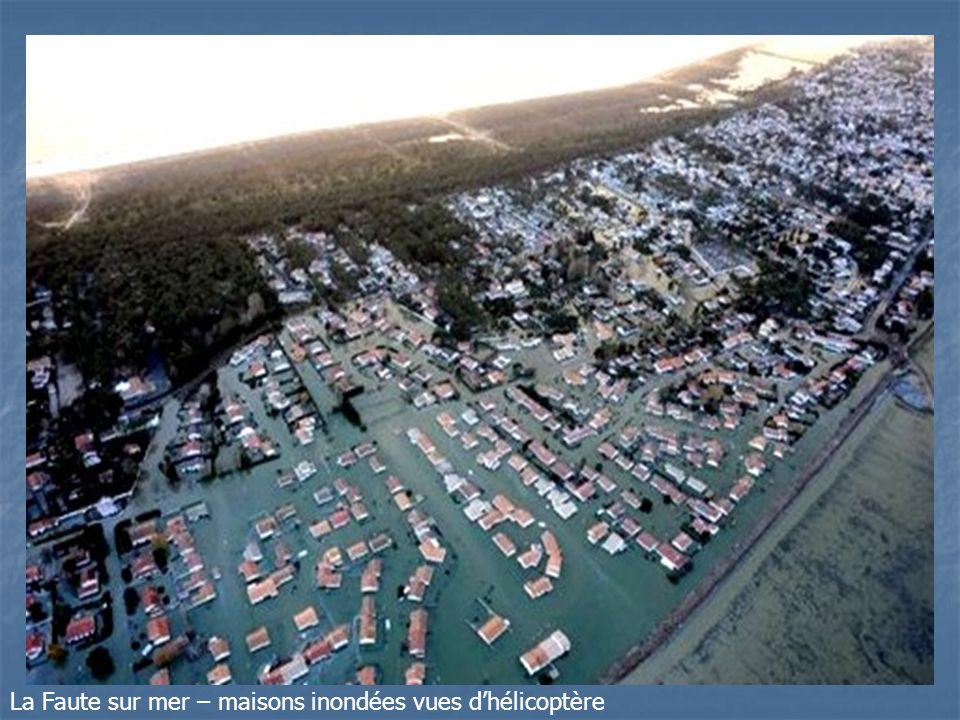La Faute sur mer – maisons inondées vues dhélicoptère