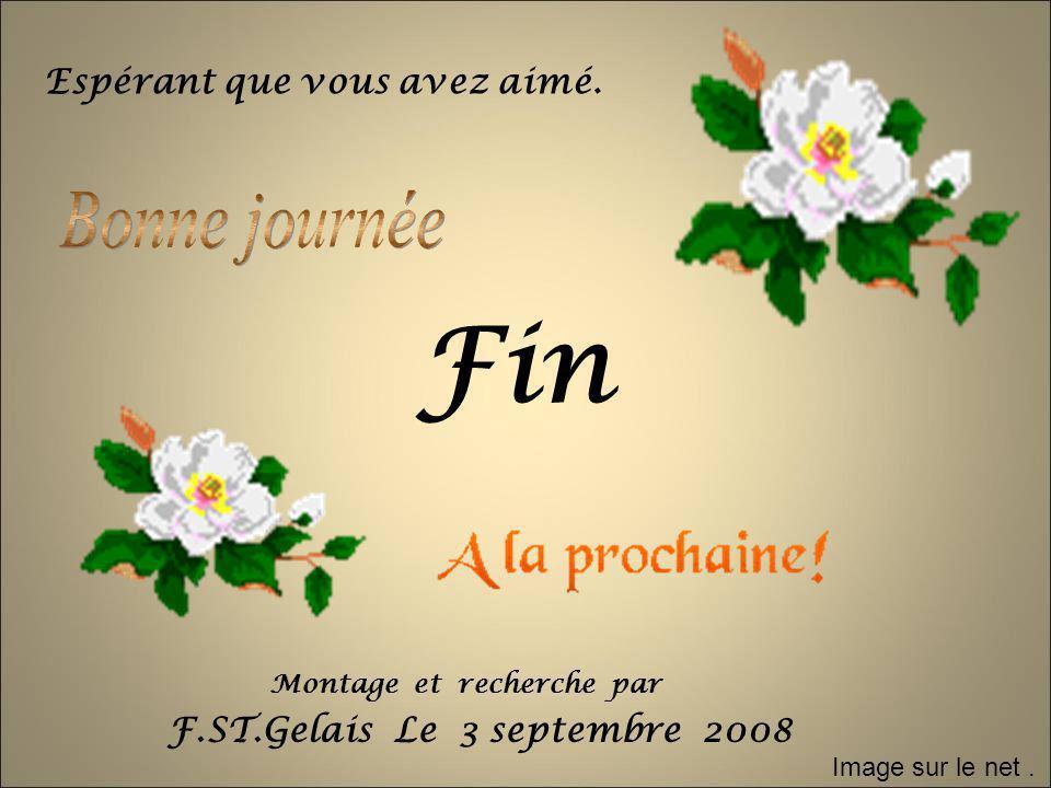 Fin F.ST.Gelais Le 3 septembre 2008 Espérant que vous avez aimé. Image sur le net. Montage et recherche par