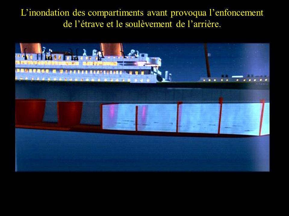 Due to the flooding the bow commenced to go down causing the stern to rise Linondation des compartiments avant provoqua lenfoncement de létrave et le