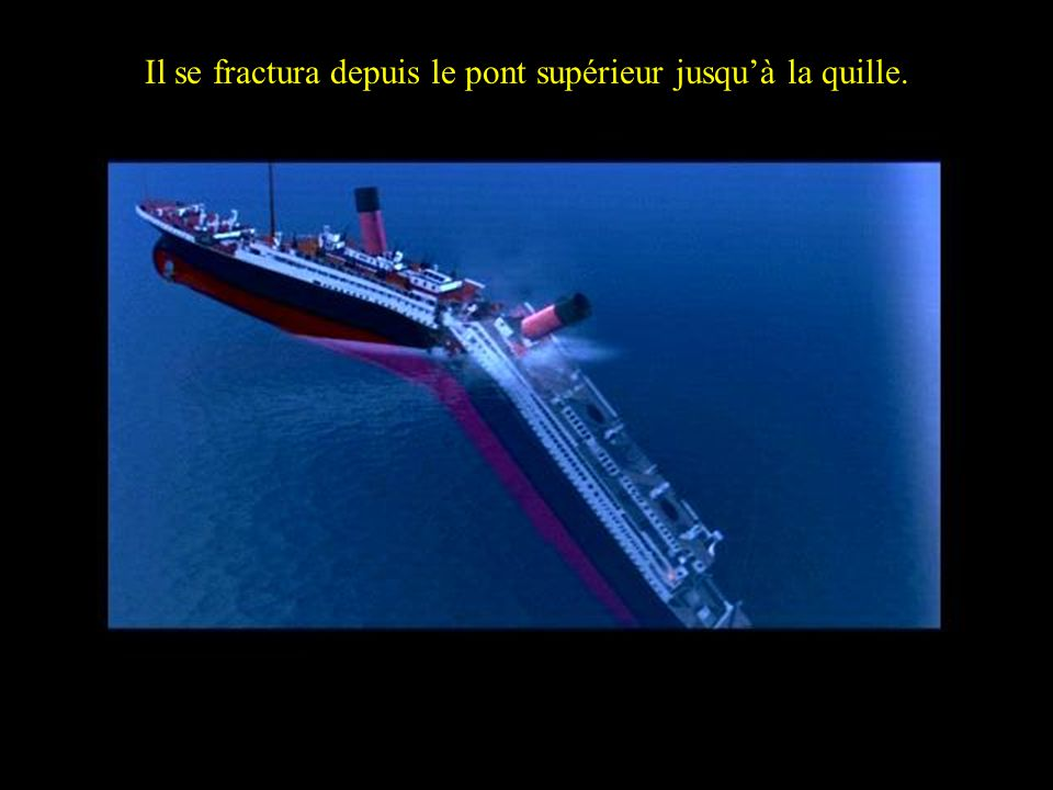 ….caused the Titanic to splint into two from the 2 nd expansion joint… Il se fractura depuis le pont supérieur jusquà la quille.