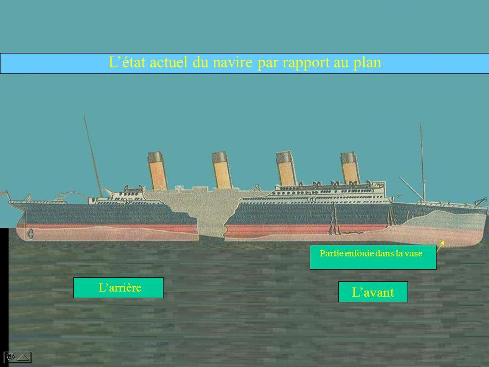 Létat actuel du navire par rapport au plan Larrière Lavant Partie enfouie dans la vase