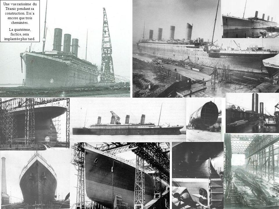 Une vue rarissime du Titanic pendant sa construction. Il na encore que trois cheminées. La quatrième, factice, sera implantée plus tard.