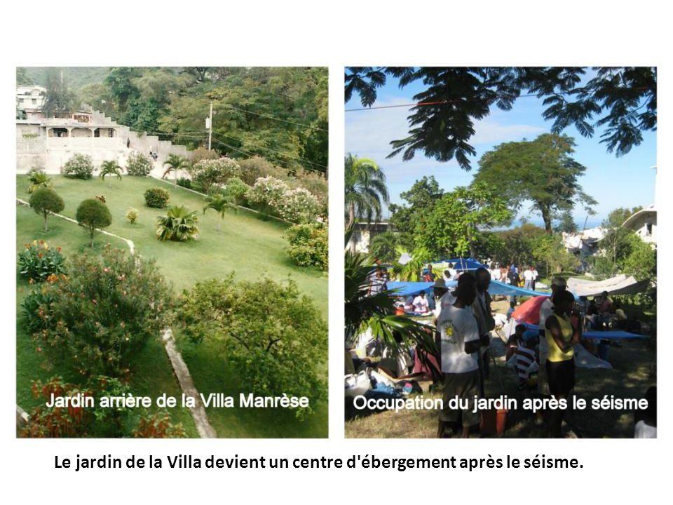 Le jardin de la Villa devient un centre d'ébergement après le séisme.