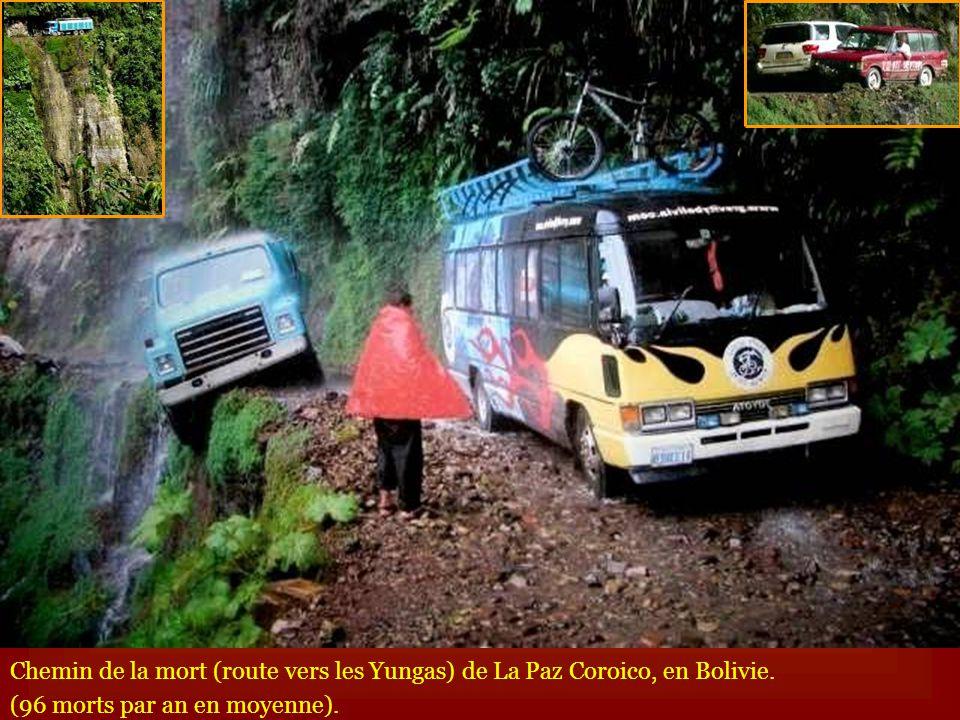 Chemin de la mort (route vers les Yungas) de La Paz Coroico, en Bolivie. (96 morts par an en moyenne).