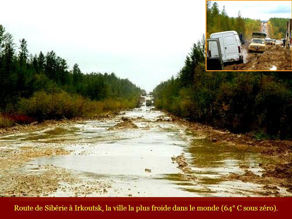 Route de Sibérie à Irkoutsk, la ville la plus froide dans le monde (64° C sous zéro).