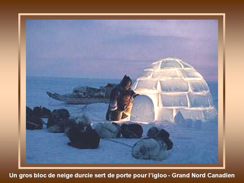 Un gros bloc de neige durcie sert de porte pour ligloo - Grand Nord Canadien