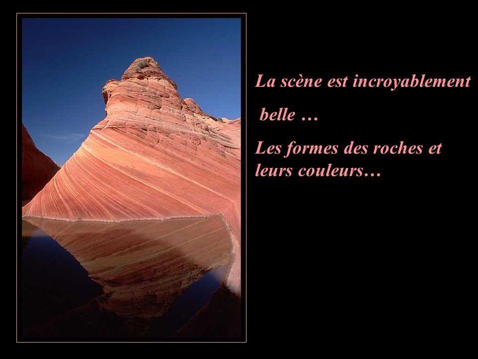 La scène est incroyablement belle … Les formes des roches et leurs couleurs…