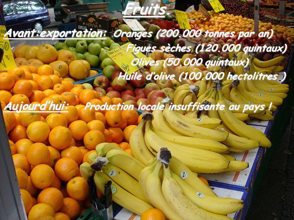 Fruits. Avant:exportation: Oranges (200.000 tonnes par an) Figues sèches (120.000 quintaux) Figues sèches (120.000 quintaux) Olives (50.000 quintaux)