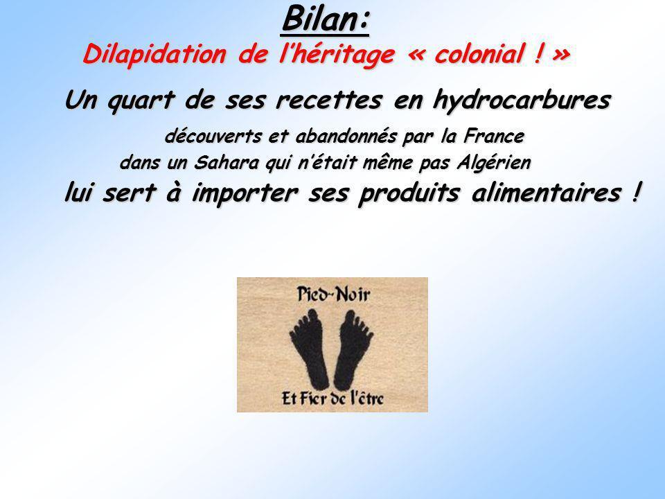 Bilan: Dilapidation de lhéritage « colonial ! » Un quart de ses recettes en hydrocarbures Un quart de ses recettes en hydrocarbures découverts et aban