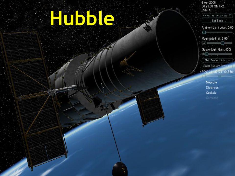 Le télescope spatial Hubble est un téléscope robotisé placé sur le bord extérieur de latmosphère, en orbite circulaire autour de la Terre à 593 Km au-dessus du niveau de la mer, avec une période orbitale entre 96 et 97 minutes et à une vitesse de 28000 km/h.