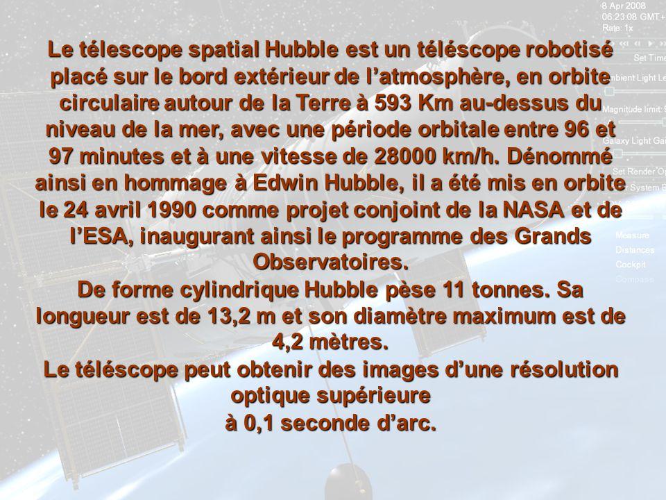 Le télescope spatial Hubble est un téléscope robotisé placé sur le bord extérieur de latmosphère, en orbite circulaire autour de la Terre à 593 Km au-