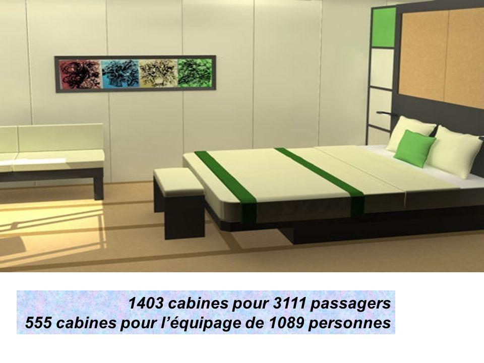 1403 cabines pour 3111 passagers 555 cabines pour léquipage de 1089 personnes