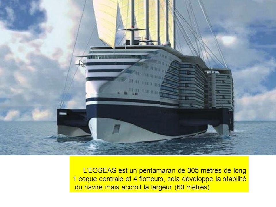 LEOSEAS est un pentamaran de 305 mètres de long 1 coque centrale et 4 flotteurs, cela développe la stabilité du navire mais accroit la largeur (60 mèt