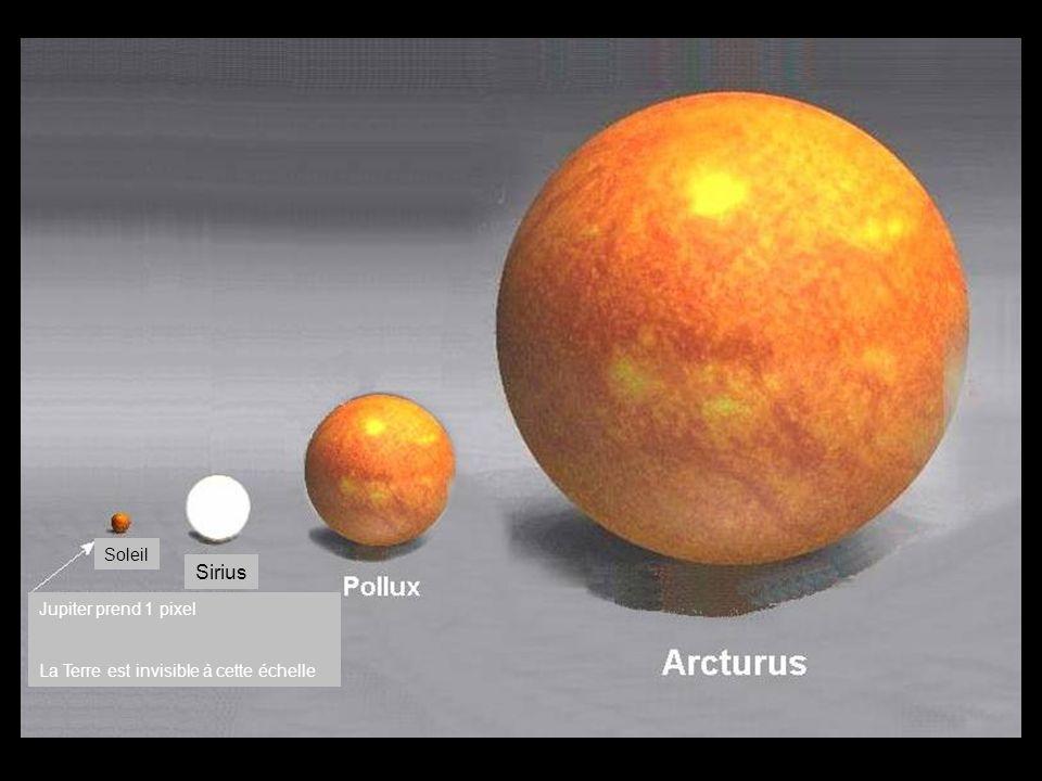 Soleil Sirius Jupiter prend 1 pixel La Terre est invisible à cette échelle