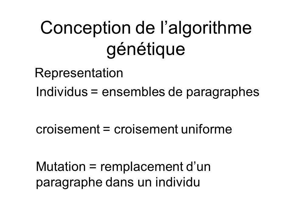 Conception de lalgorithme génétique Representation Individus = ensembles de paragraphes croisement = croisement uniforme Mutation = remplacement dun paragraphe dans un individu