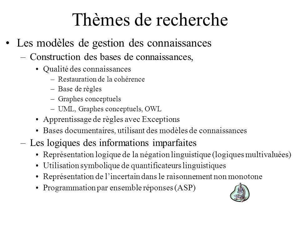 Thèmes de recherche Les modèles de gestion des connaissances –Construction des bases de connaissances, Qualité des connaissances –Restauration de la cohérence –Base de règles –Graphes conceptuels –UML, Graphes conceptuels, OWL Apprentissage de règles avec Exceptions Bases documentaires, utilisant des modèles de connaissances –Les logiques des informations imparfaites Représentation logique de la négation linguistique (logiques multivaluées) Utilisation symbolique de quantificateurs linguistiques Représentation de lincertain dans le raisonnement non monotone Programmation par ensemble réponses (ASP)
