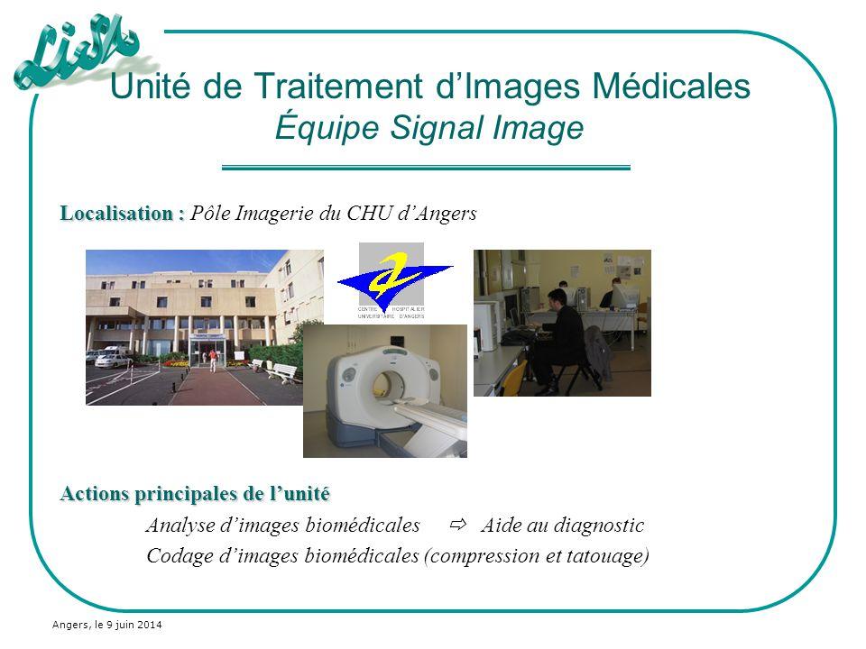 Angers, le 9 juin 2014 Localisation : Localisation : Pôle Imagerie du CHU dAngers Actions principales de lunité Analyse dimages biomédicales Aide au d