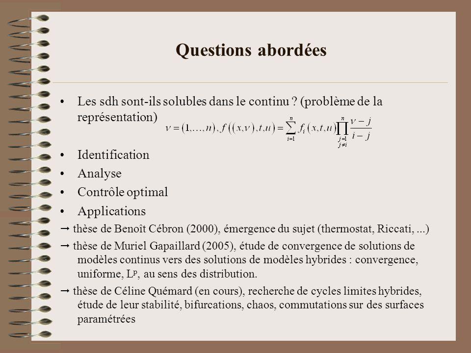 Questions abordées Les sdh sont-ils solubles dans le continu ? (problème de la représentation) Identification Analyse Contrôle optimal Applications th