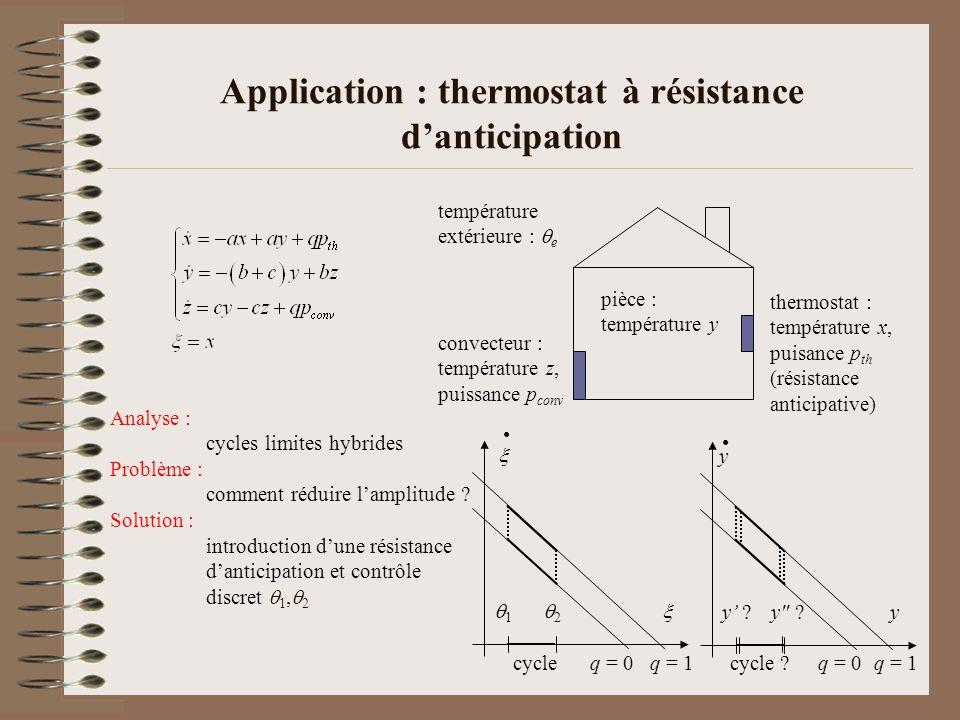 Application : thermostat à résistance danticipation convecteur : température z, puissance p conv température extérieure : e thermostat : température x