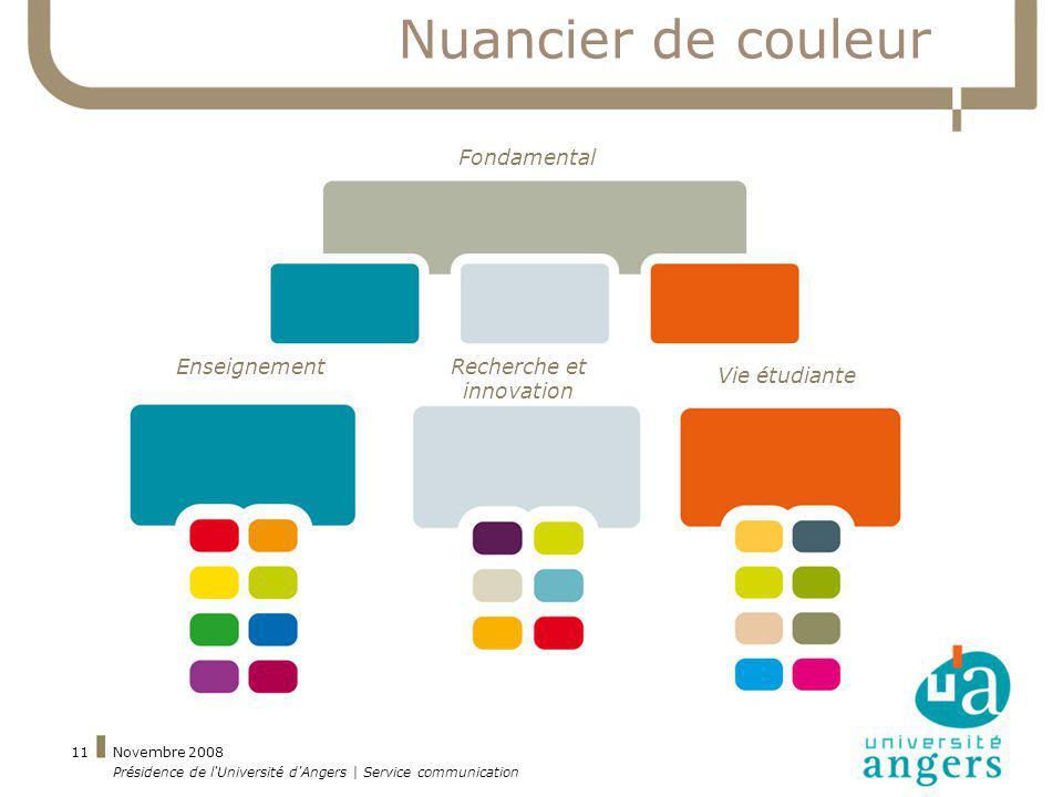 Novembre 2008 Présidence de l'Université d'Angers | Service communication 11 Nuancier de couleur EnseignementRecherche et innovation Vie étudiante Fon