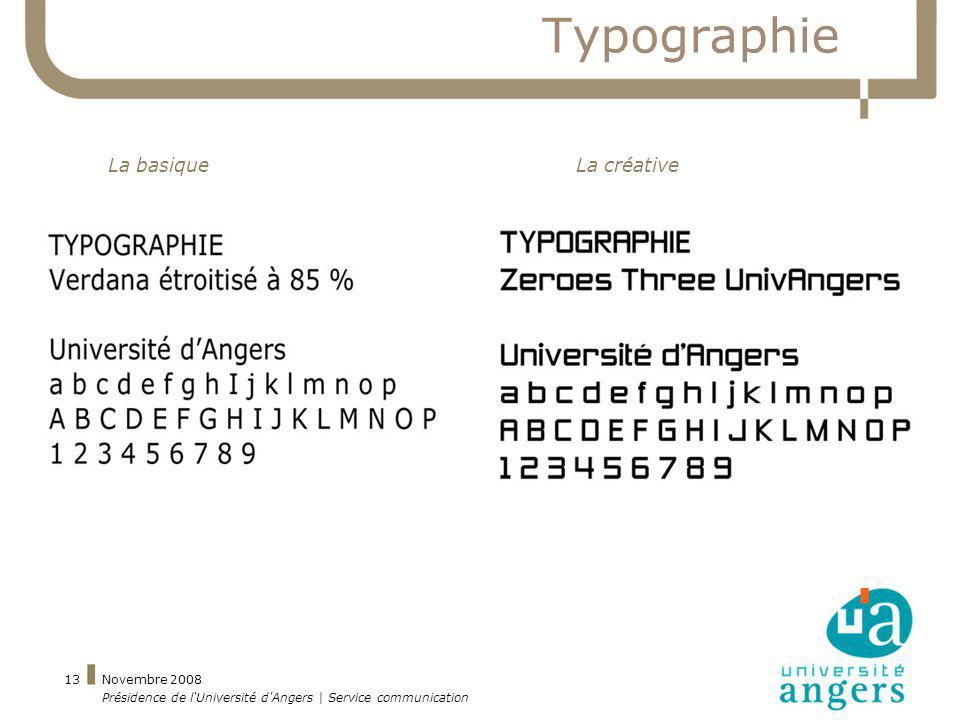 Novembre 2008 Présidence de l'Université d'Angers | Service communication 13 Typographie La basiqueLa créative