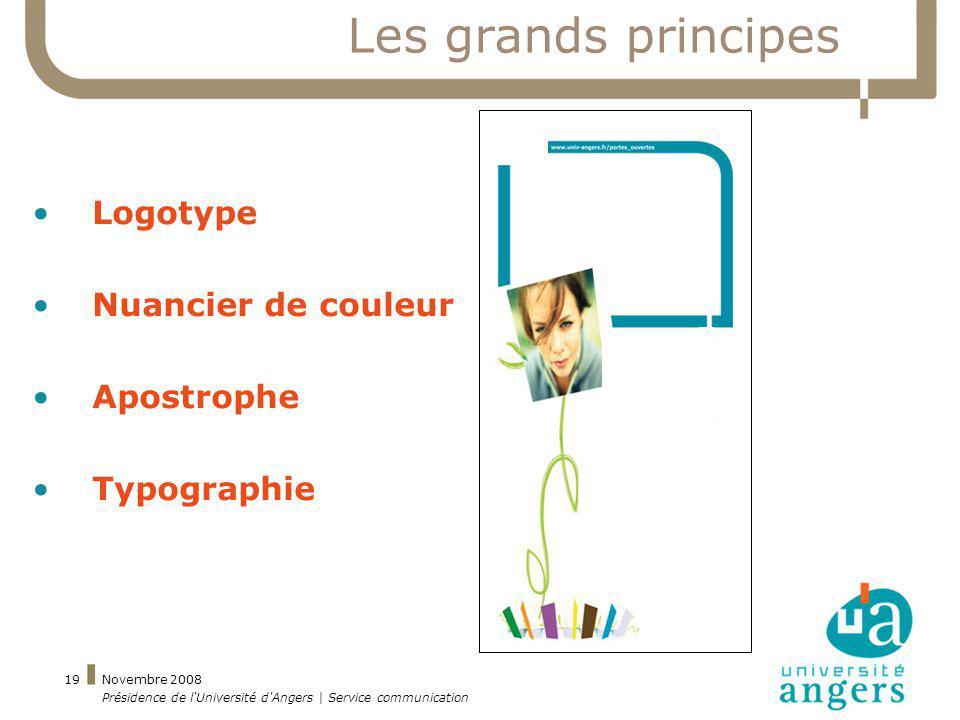 Novembre 2008 Présidence de l'Université d'Angers | Service communication 19 Les grands principes Logotype Nuancier de couleur Apostrophe Typographie